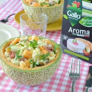 Ensalada de arroz Aroma con melón y jamón dulce